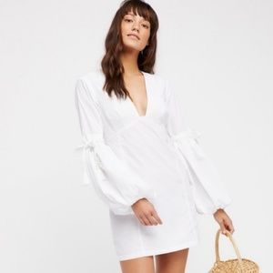 Free People white mini puff sleeve dress